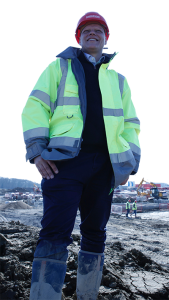 Production Manager Roelof Van Emmenis on site